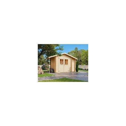 Lasita Maja Lasita Gerätehaus Blockbohlenhaus Vilano 1 18 mm naturbelassen BxTxH: 360x269x230 cm, Anbauschrank, SD, inkl. Boden