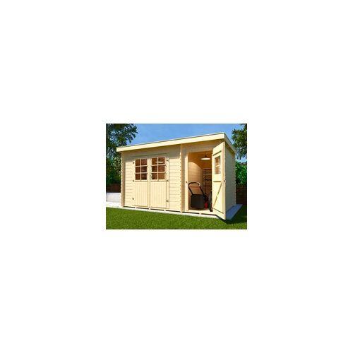 WEKA Gartenhaus Blockbohlenhaus 254 Gr. 1 28 mm naturbelassen BxTxH: 390x246x222 cm, BxT: 370x200 cm (Sockelmaß Haus), inkl. Nebenraum
