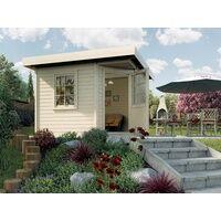 WEKA Gartenhaus Designhaus 213 Gr. 2 28 mm naturbelassen BxTxH: 338x338x237 cm, Rahmen-Einzeltür + Fenster, Massivholz-Flachdach