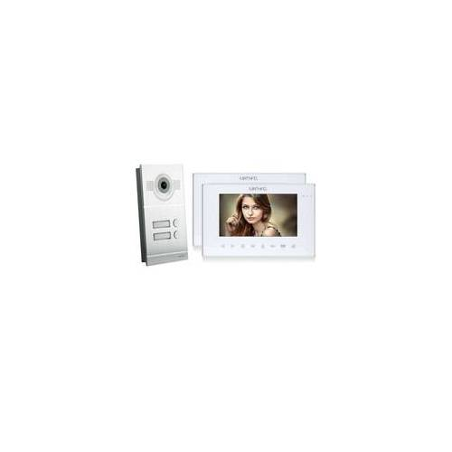 Mathfel Video Türsprechanlage mit 2 Monitore - Silber Kamera Fischauge
