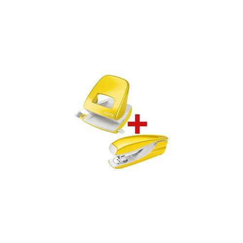 Leitz Tacker-Locher-Büroset »5502 & 5008 NeXXt WOW« gelb, Leitz