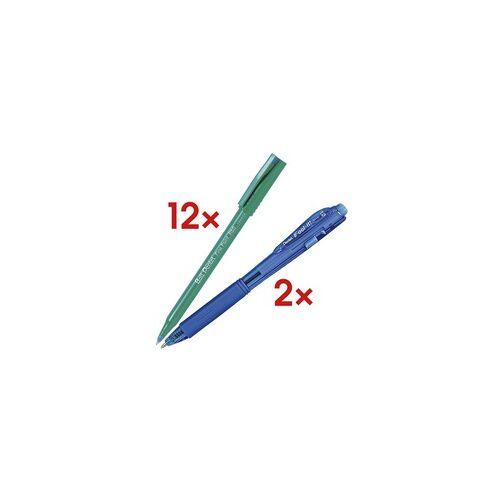 Pentel 12er-Set Einweg-Tintenroller Ball »Fine Point R50« inkl. 2 Kugelschreiber »BX-44 blau, Pentel