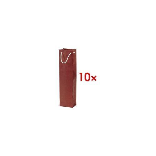 OTTO Office 10x Flaschen-Geschenktasche - 1 Flasche (ohne Sichtfenster) rot, OTTO Office, 9.2x36x8.8 cm