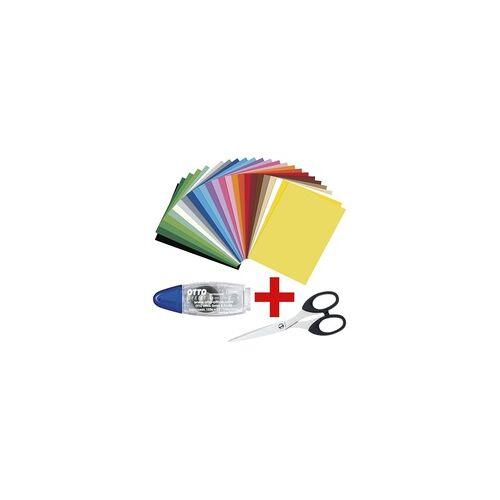 folia Tonkarton inkl. Kleberoller 8,4 mm / 7 m und Schere 15 cm gelb, folia, 35x0.8 cm