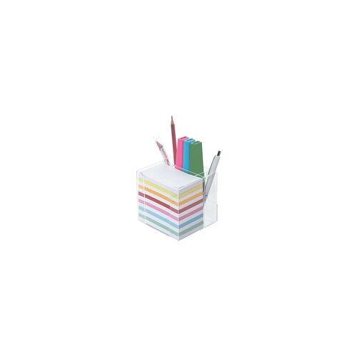 folia Zettelbox mit Stiftehalter mehrfarbig, folia, 9.5x9.5x9.5 cm