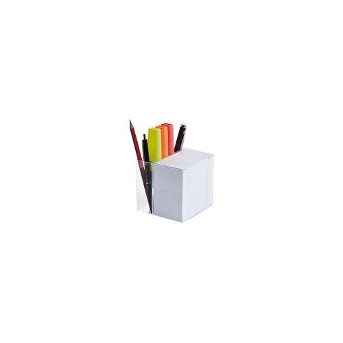 folia Zettelbox mit Stiftehalter weiß, folia, 9.5x9.5x9.5 cm
