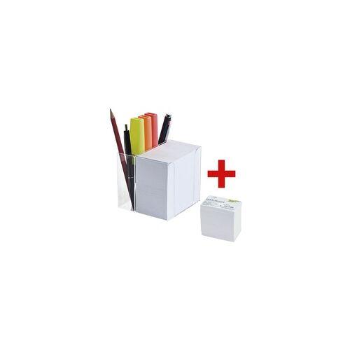 folia Zettelbox mit Stiftehalter inkl. Ersatzklotz weiß, folia, 9.5x9.5x9.5 cm