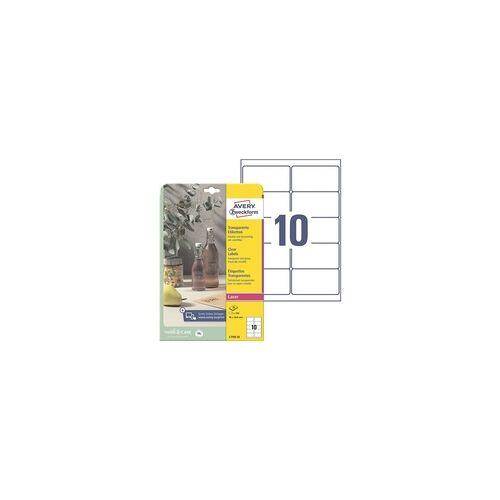 Zweckform Kristallklare Etiketten 96x50,8 mm »L7783-25« 250 Stück transparent, Avery Zweckform