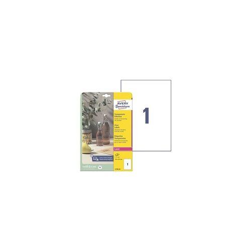 Zweckform Kristallklare Etiketten 210x297 mm »L7784-25« 25 Stück transparent, Avery Zweckform