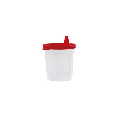 SANISMART 500 x Urinprobenbecher 125 ml mit rotem Schnappdeckel