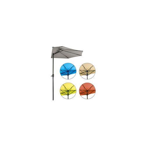 DEMA Sonnenschirm halbrund La Spezia Halbschirm Balkonschirm Terrasse - Farbwahl, Farbe: Blau
