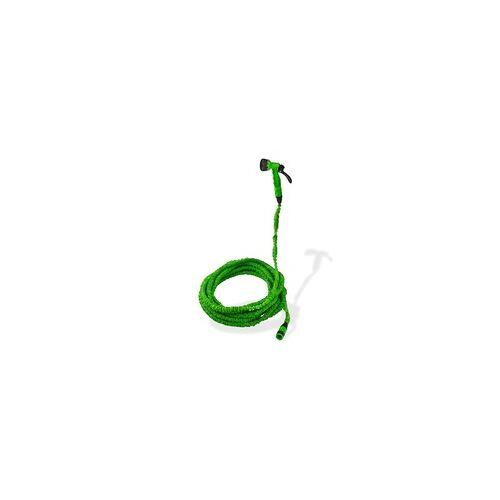 DEMA Gartenschlauch Wasserschlauch flexibel 5 - 15 m dehnbar knickfrei Grün + Brause