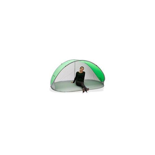 DEMA Strandmuschel Pop Up Strandzelt Sonnenschutz Windschutz grün/grau Wurfzelt