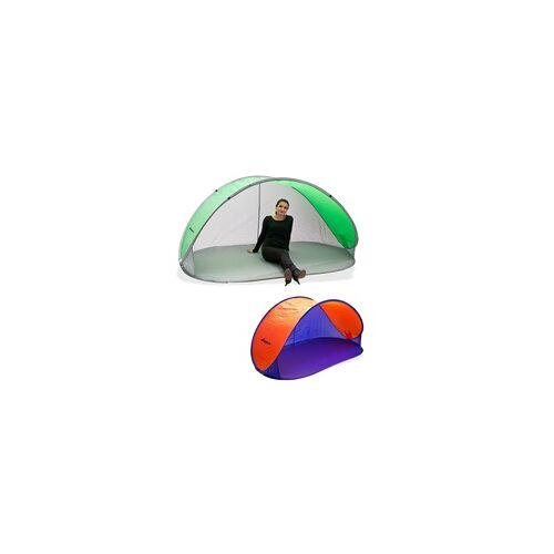 DEMA Strandmuschel Pop Up Strandzelt Sonnenschutz Windschutz Auswahl, Auswahl: Strandmuschel grün/grau (920542/43242)