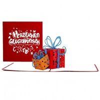 Colognecards Pop-Up Karte Geschenke rot&orange