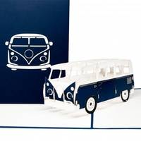 Colognecards Pop-Up Karte Minibus blau