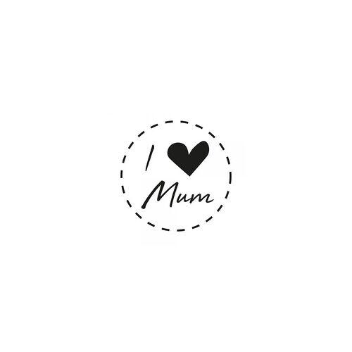 stempel-fabrik.de Muttertag Holzstempel - I love Mum (Ø 40 mm)