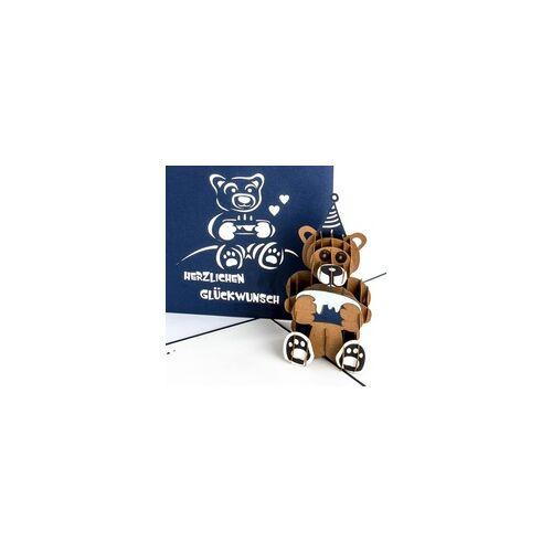 Colognecards Pop-Up Karte Teddybär mit Torte blau