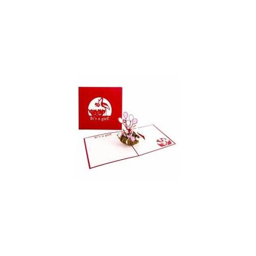 Colognecards Pop-Up Karte Storchennest Baby It's a Girl