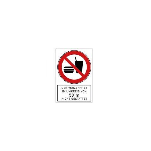 aufkleberdrucker.de Verbotsschild - Der Verzehr ist im Umkreis von 50 m nicht gestattet