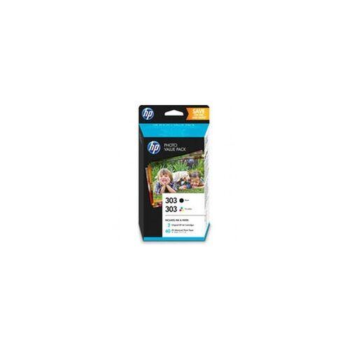 HP Photo Value Pack HP 303 (1xschwarz+1xfarbig) + 40 Blatt HP Advanced Photo Papier 10x15cm HP - Z4B62EE