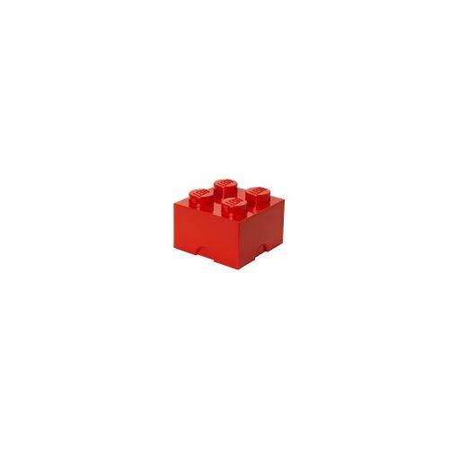 Lego Aufbewahrungsstein mit 4 Noppen in Rot