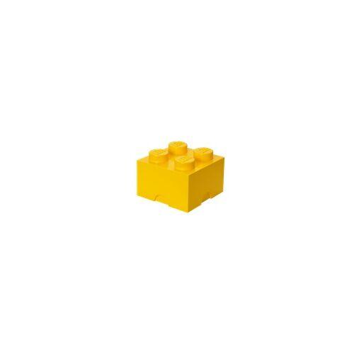 Lego Aufbewahrungsstein mit 4 Noppen in Gelb