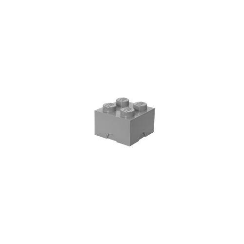 Lego Aufbewahrungsstein mit 4 Noppen in Steingrau