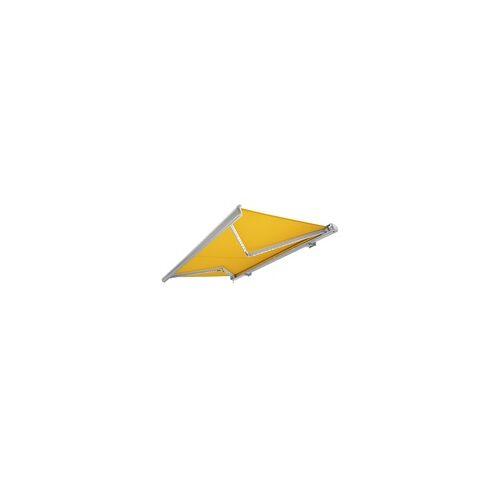 NEMAXX Kassettenmarkise elektrisch Vollkassettenmarkise mit LED, Markise gelb, Kassette weiß, Funk Fernbedienung, wasserdicht, 400x300 cm (4x3m)