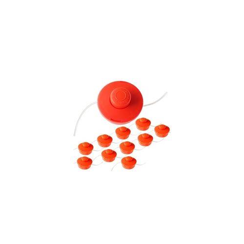 Nemaxx 10x Nemaxx FS1 Fadenspule mit Tippautomatik Doppelfadenkopf Fadenkopf Mähkopf Mähfaden Nylonschnurrolle Grasschneider Zubehör Ersatz Spule für Benzin Motorsense - Orange