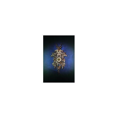 Romba -Echte Kuckucksuhr als Wandbild 90cm Blau Gold- AL37-G