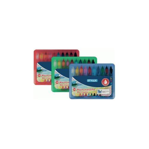 TOPPOINT Wachsmalstiftetui wasserl. Box TOPPOINT 28225  10St sortierte Farben