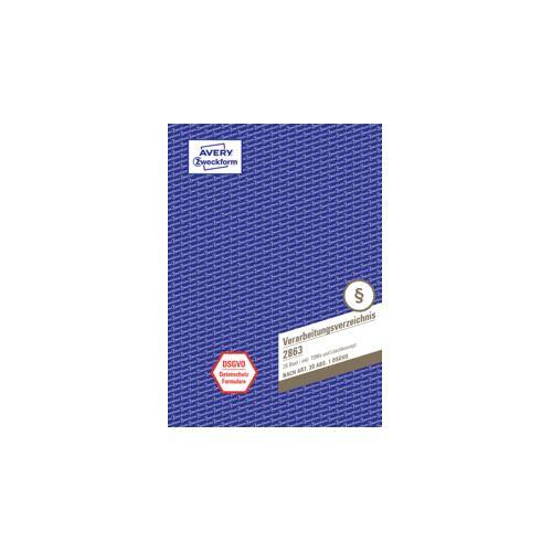Avery Verarbeitungsverzeichnis A4 28BL weiß/bl