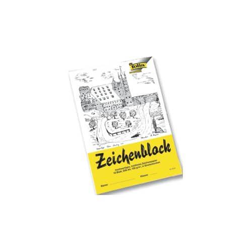 FOLIA Zeichenblock A4 10 Blatt 120g FOLIA 8104 mit Ecken