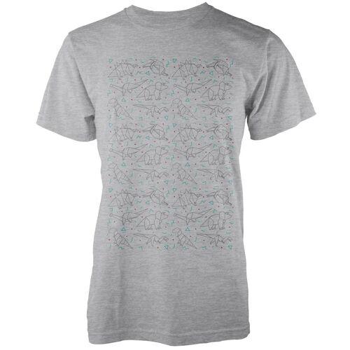 The Dinosaur Collection Origami Dinosaurier T-Shirt – Grau - XL - Grau