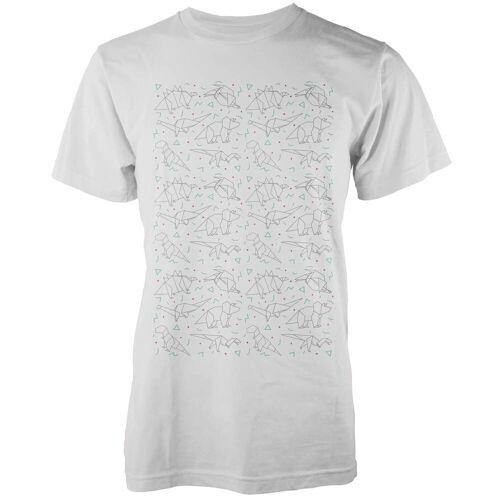 The Dinosaur Collection Origami Dinosaurier T-Shirt - Weiß - L - Weiß