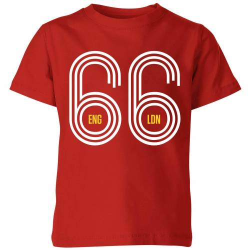 Football England 66 Kinder T-Shirt - Rot - 7-8 Jahre - Rot