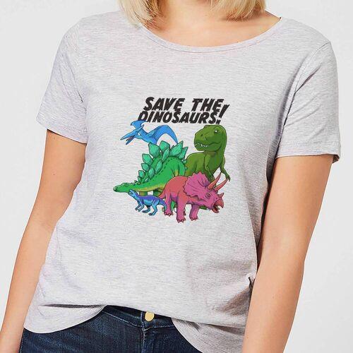 The Dinosaur Collection Save the Dinosaurs Frauen T-Shirt – Grau - XL - Grau