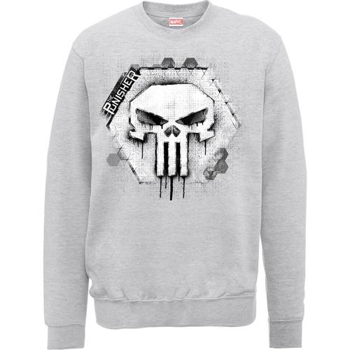 Marvel The Punisher Skull Badge Logo Männer Sweatshirt - Grau - L - Grau