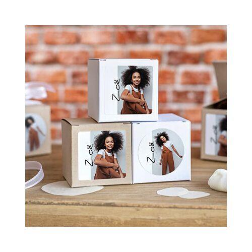 smartphoto Partybox Weiss mit Sticker rund (24er Set)