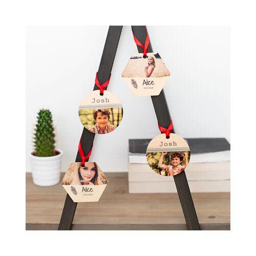 smartphoto Weihnachtsdekoration aus Holz Kreis (4er Set)