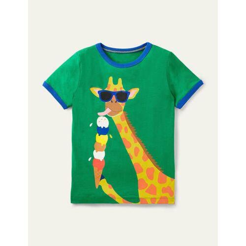 Mini Baumgrün, Giraffe T-Shirt mit Urlaubsgrafik Boden Boden, 128 (7-8J), Green