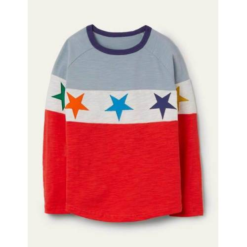 Mini Erdbeerkuchenrot, Sterne Raglan-T-Shirt Boden Boden, 98 (2-3J), Red