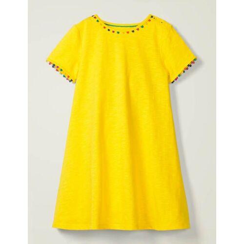 Mini Zitronenschalengelb Charlie Jerseykleid mit Bommeln Boden Boden, 116 (5-6J), Yellow
