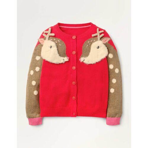 Mini Peperonirot, Rentier Gemütlicher festlicher Cardigan Weihnachten Boden, 152 (11-12J), Red