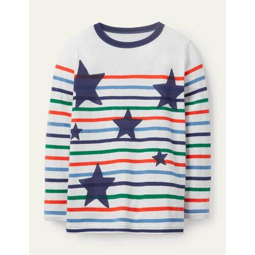 Mini Bunt, Sterne Lustiges Breton-T-Shirt Boden Boden, 134 (8-9J), Multi