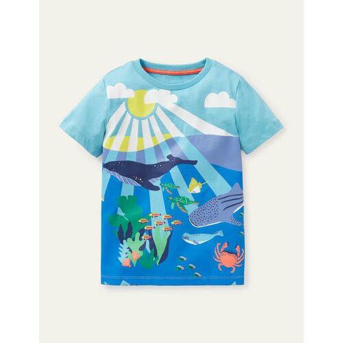 Mini Wasserblau, Riffszene T-Shirt mit Szenenmotiv Boden Boden, 152 (11-12J), Multi