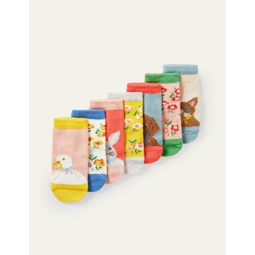Mini Blumen/Tiere Box mit Socken im 7er-Pack Baby Baby Boden, 92, Multi