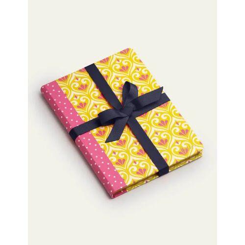 Boden Gelb Gemustertes gebundenes Notizbuch Damen Boden, Eine Größe, Yellow