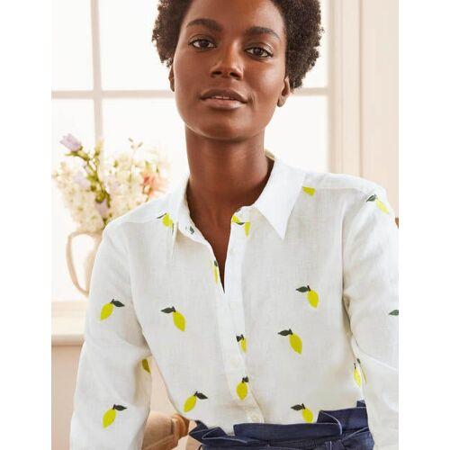 Boden Weiß, Zitronenstickerei Besticktes Leinenhemd Damen Boden, 46 L, White